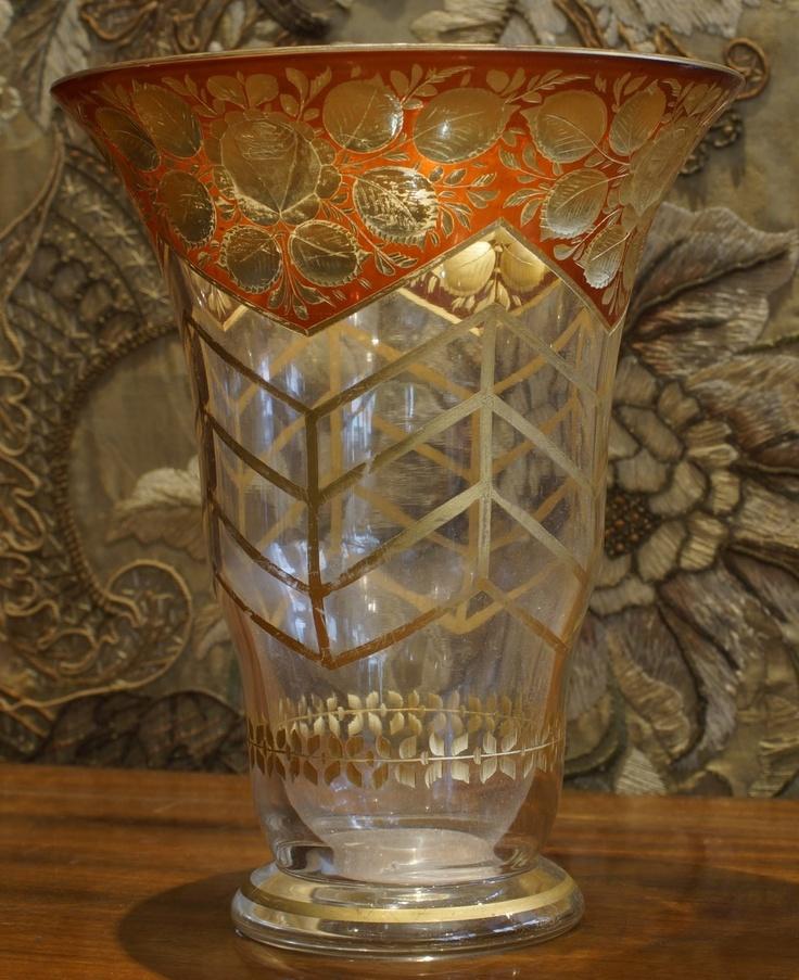 1925 Crystal Vase, Golden Flower Designs On Red Background