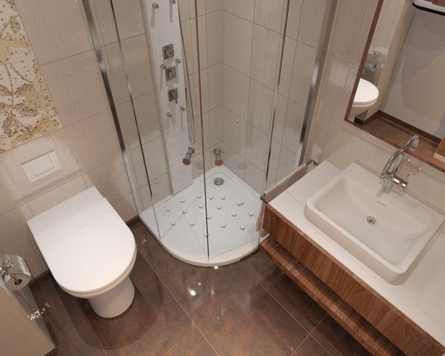 kleine badezimmer ideen für gestaltung braun beige eckdusche glaswände