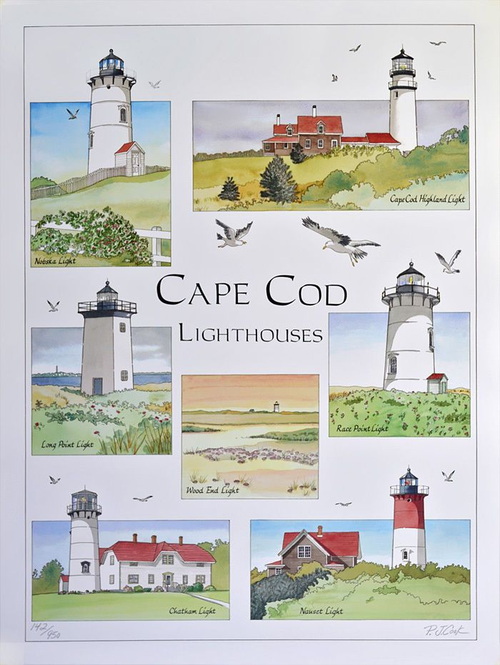 Cape Cod Lighthouse Pen Ink Watercolor Limited Edition Print 7 Lights PJ Cook $19.99 shipped!| This artwork features detailed views of the popular lights on the Cape: Highland Lighthouse, Nauset Light, Chatham Lighthouse, Nobska Lighthouse, Wood End Light, Long Point Light and Race Point Light. I did this artwork in watercolor and pen & ink after I visited all of the lighthouses.