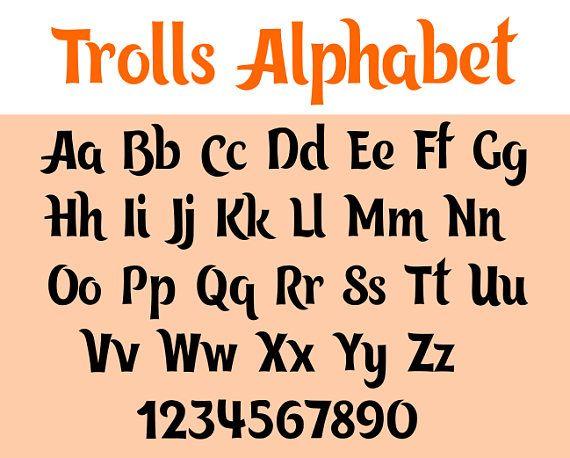Trolls lettertype svg trollen svg, svg-bestanden, dxf, cricut, silhouet snijden bestand, instant download