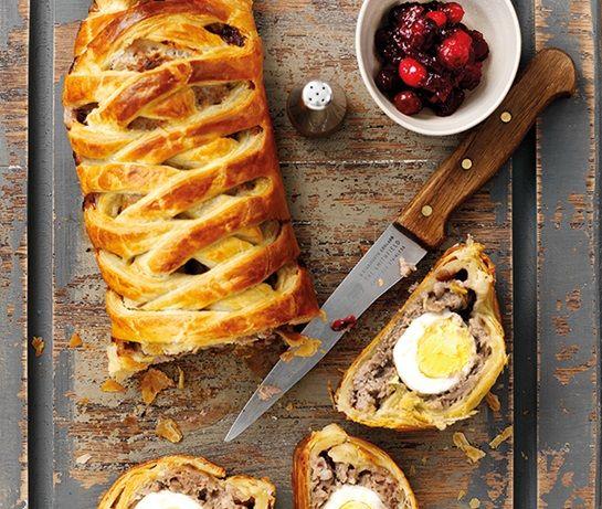 Egg, cranberry & sausage plait