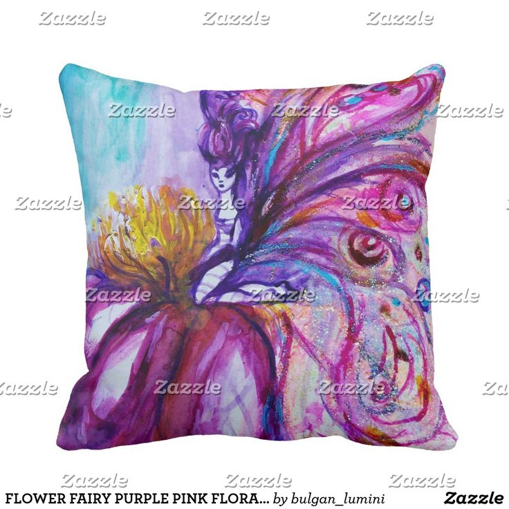 FLOWER FAIRY PURPLE PINK FLORAL Girl Baby Status Throw Pillow #flowers #birth #newbaby #babystatus #decor #fantasy