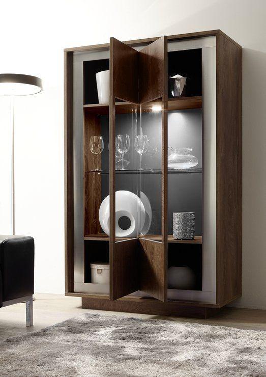 Luna Two Door Display Cabinet inc.LED Spot Light - Cognac Finish (Sideboards & display cabinet) | image 2