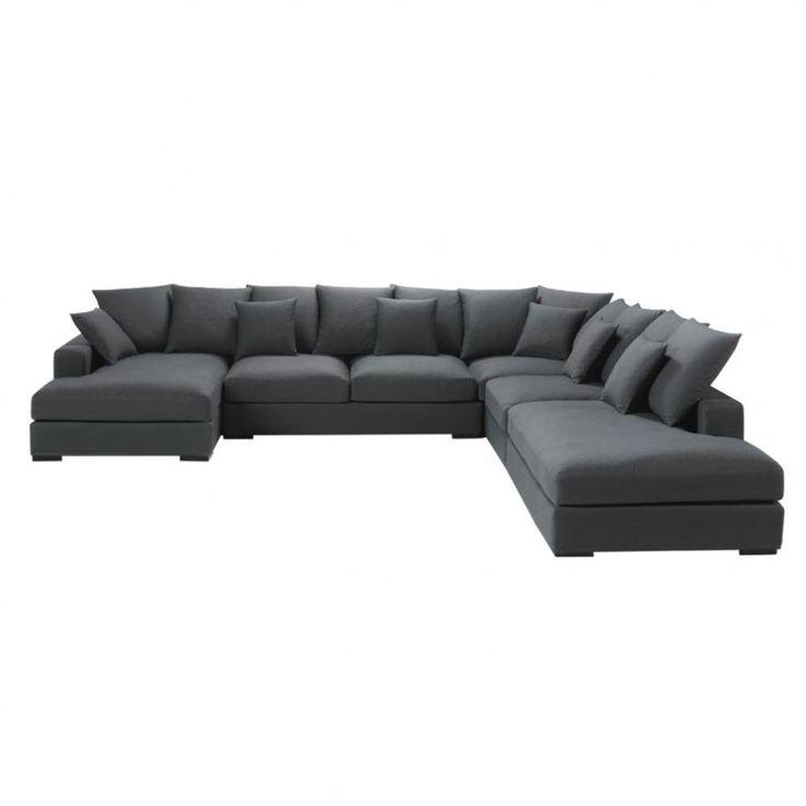 Canapé d'angle 7 places fixe gris ardoise  LOFT