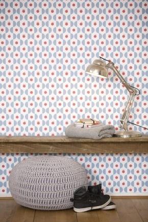 Prachtig retro behang voor een accentmuur in de kinderkamer, woonkamer of studeerkamer. Dutch design van TiS Lifestyle!