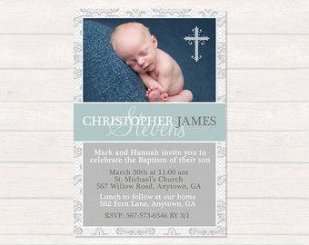 Boy Baptism Invitation Christening Invitation by printablecandee