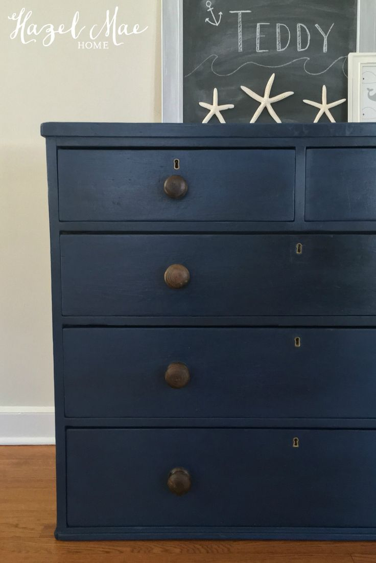 Annie Sloan Napoleonic Blue Dresser with original knobs {by Hazel Mae Home}