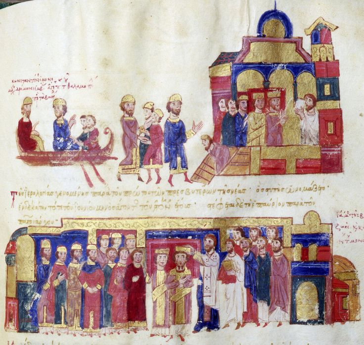Illustration from  Scylitzes Chronicle  f222v  Marriage and Coronation of Constantine IX Monomachus and Zoe.  Top. Zoe and Constantine cross the Bosphorous in an imperial boat to be received in front of a palace by two dignitaries.  Bottom. The official marriage and coronation of Constantine IX Monomachus and Zoe in the basilica of Basil I.   Scylitzes Chronicle