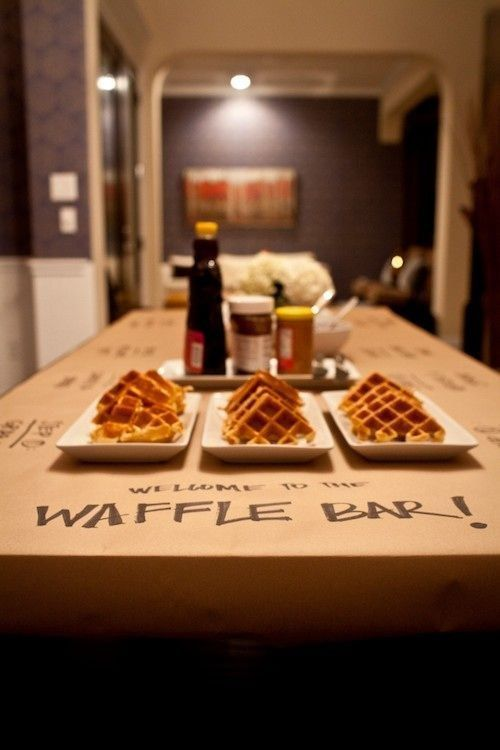 In the morning, set up a waffle bar.   39 Slumber Party Ideas To Help You Throw The Best Sleepover Ever