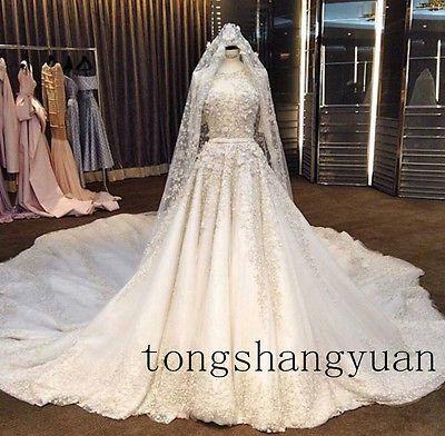 Потрясающая свадебная платья с бисером кружево аппликация собор поезд вечернее платье