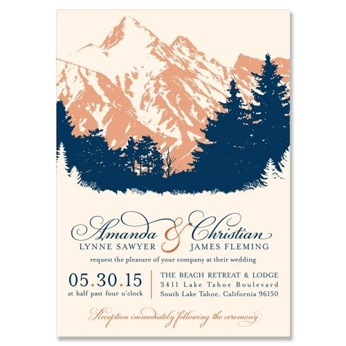 Scenic Wedding Invitation in Navy & Harvest | by The Green Kangaroo, Inc.