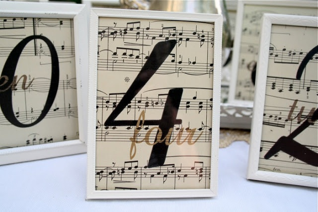 table number music notes | We printed table numbers on vintage sheet music and framed them