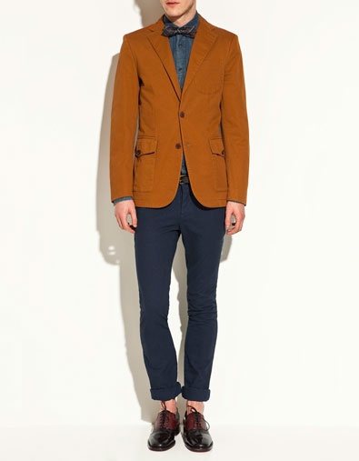 Cotton blazer with elbow patches