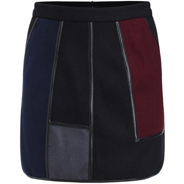 SheIn(sheinside) Multicolor Contrast PU Leather Skirt ($18) ❤ liked on Polyvore featuring skirts, vintage skirts, leatherette skirt, multi colored skirt, pleather skirt and body con skirt