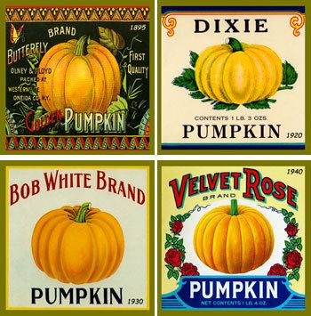Olde America Antiques | Quilt Blocks | National Parks | Bozeman Montana : Vintage Canning Labels Hot Pads - Pumpkins Hot Pad Set 1