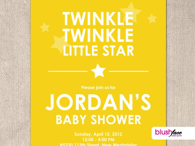 twinkle twinkle little star baby shower invitation digital or