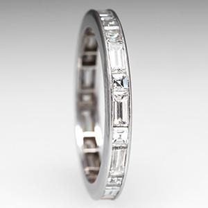 Baguette Diamond Wedding Band Ring Eternity Platinum