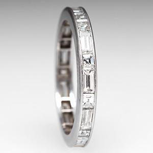 Baguette Diamond Wedding Band Ring Eternity Platinum