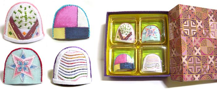 This item is a thimbles in Korea. It's a very unique. It is available not only sewing but accessary. It's made of cloth but it's very hard. Needle head never prick your finger. It will protect your fingers from needle.
