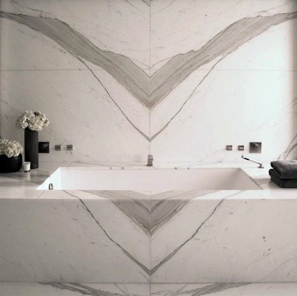 Book matched marble home bathroom home office for Limestone bathtub