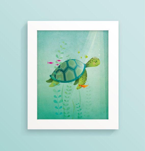 Turtle print Nursery art Sea turtle nursery by IreneGoughPrints
