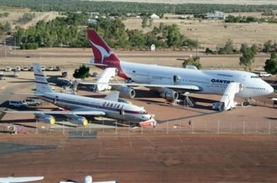 Qantas B707 & 747-300 at the Qantas Museum, Longreach, Australia.