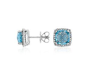 Blue Topaz Halo Stud Earrings in Sterling Silver #BlueNile