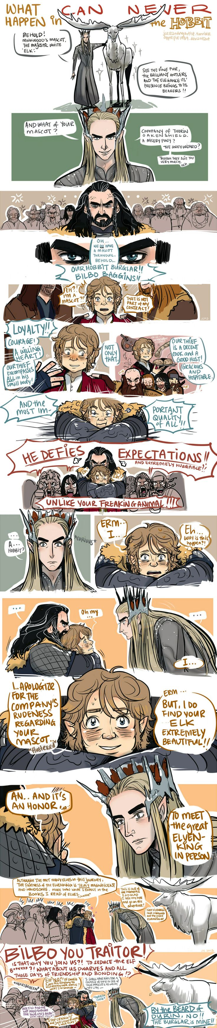 Pretty sure this is how it actually went down, just with more Hobbit-hugging. Probably by Kíli.