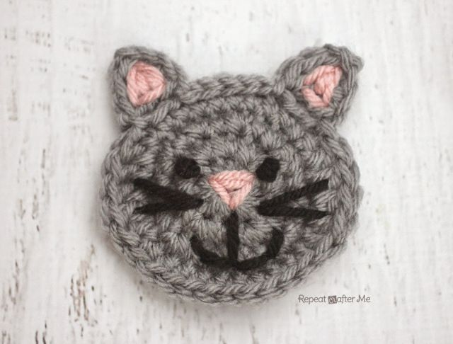 C is for Cat: Crochet Cat Applique - Repeat Crafter Me
