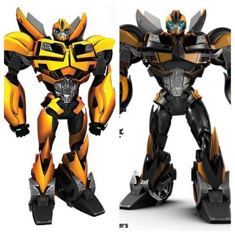 Bumblebee from Transformers Prime-old vs new colors. new paint job is much better!