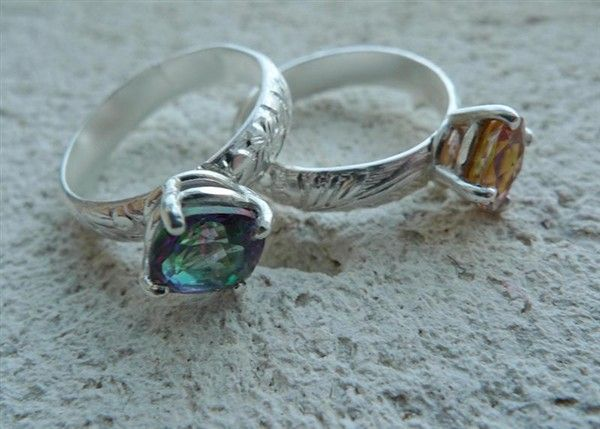 Mystic Topaz rings with textured floral bands. Perfect gift for the November babies in your life.