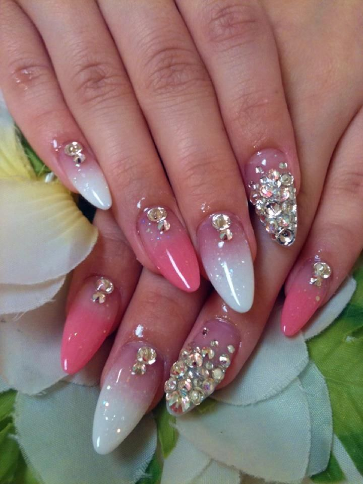 Acrylic Nail Designs With Rhinestones | Pink and White Acrylic Gradation Nails with Swarovski Rhinestones.