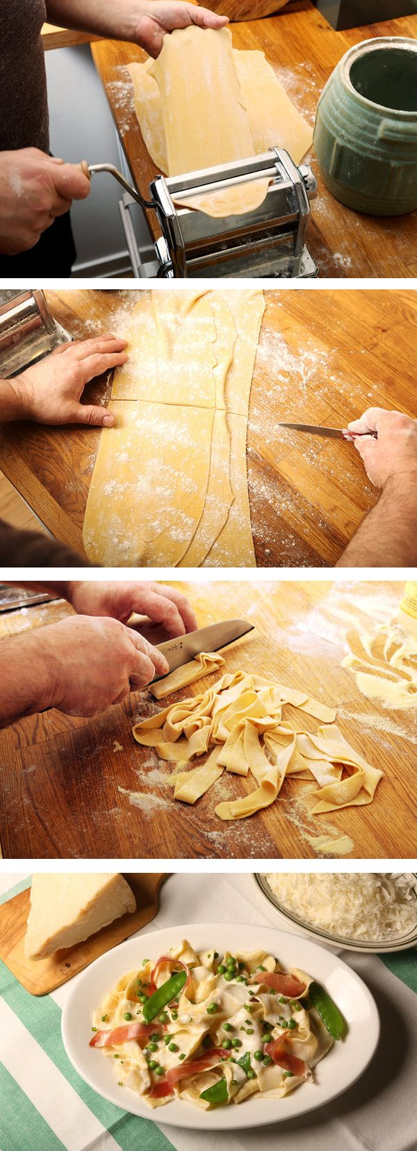 Making fresh egg noodles for pasta with prosciutto and peas || Photo: Fred R. Conrad/The New York Times