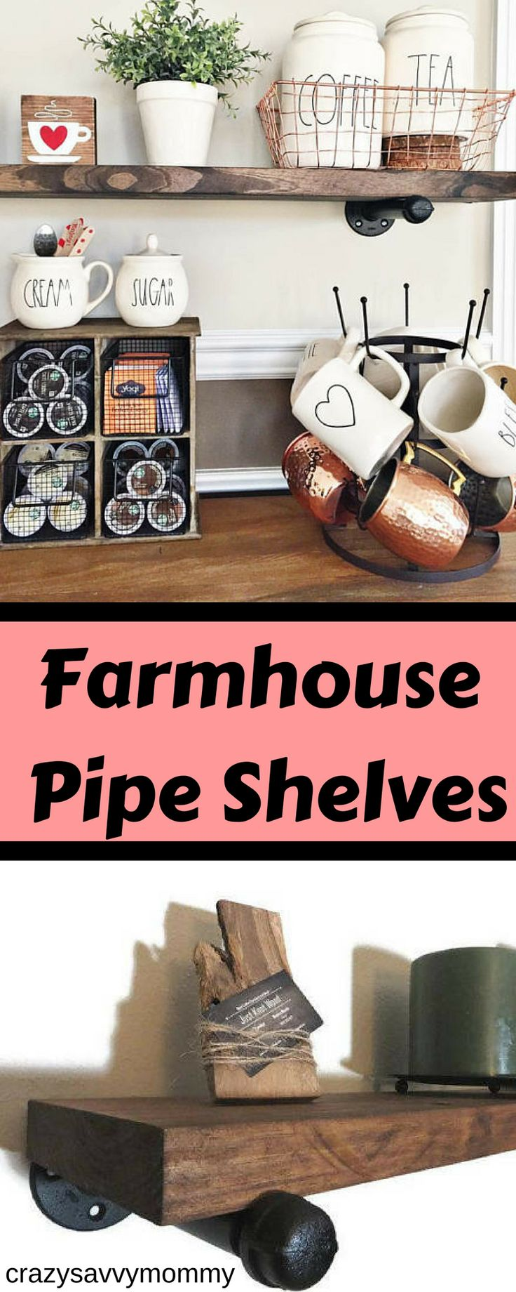 "BEAUTIFUL FARMHOUSE inspired floating industrial pipe shelves. Enjoy these floating shelves in any room to add a rustic and industrial look. These shelves are easy to install and include all needed hardware for a fast installation. Each Shelf is made of 100% solid wood and 3/4"" painted steel brackets. Click the link to buy them NOW at Etsy.com! #farmhousedecor #diyroomdecor #rustichomedecor #homedecorideas #kitchenideas #ad"