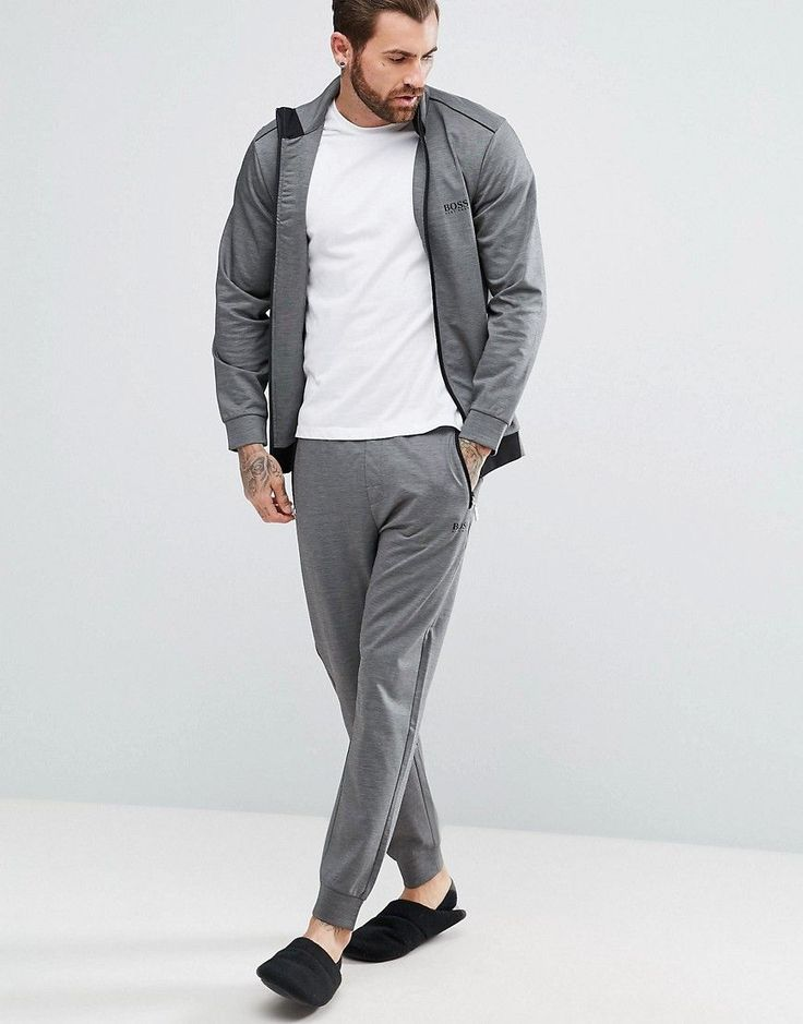 BOSS BY HUGO BOSS TRACKSUIT JOGGERS WITH CUFFED ANKLE IN REGULAR FIT - BLACK. #boss #cloth #