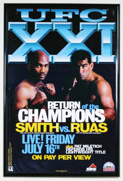 UFC 21: Return of the Champions with Maurice Smith vs. Marco Ruas Unsigned Poster - creasing and edge wear