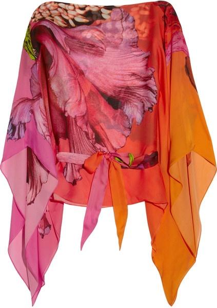 ROBERTO CAVALLI  Printed Silk-chiffon Kaftan  Multicolored sheer floral-print silk-chiffon Slash neck, exaggerated draped sleeves    IT Sizes:  4244  BUY  $725 at Net-A-Porter
