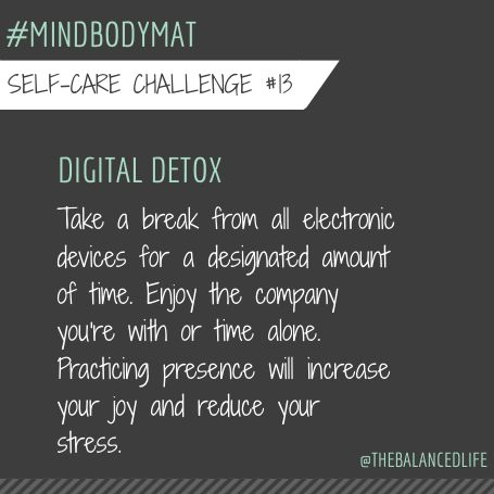 @robinlong #mindbodymat Today I am going to go cell free after work and just be with my family, especially my son! I am going to try to get him to do it as well... after a long day of work (for me) and school (for him) we both need time to unwind and destress!