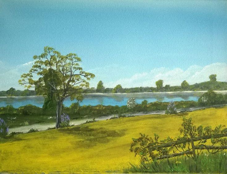 Mein aktueller Online Malkurs für Acrylfarben. Leuchtendes Rapsfeld vor dem kühlen Blau eines See's. Kostenlos zum ausprobieren.