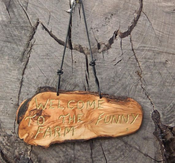 olive wood wall plaque  Welcome To The Funny by ellenisworkshop