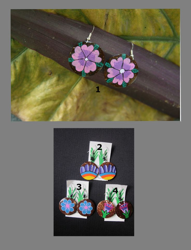 Accessories : Rounded Coconut-Painted Earrings