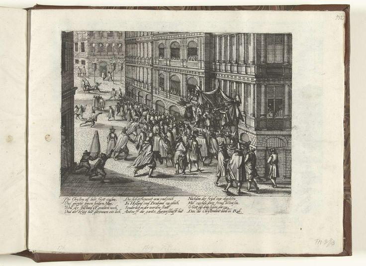 anoniem | Afkondiging van het Twaalfjarig Bestand te Antwerpen, 1609, workshop of Frans Hogenberg, 1609 - 1611 | Afkondiging van het Twaalfjarig Bestand voor het stadhuis te Antwerpen, 14 april 1609. In de straten worden vreugdevuren ontstoken. Met onderschrift van 12 regels in het Duits. Ongenummerd.
