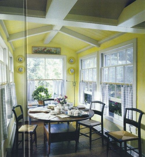 Hitchcock Chairs On Yellow Summer Porch Match With Table