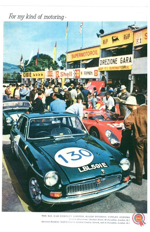 1968 .. Targa-Florio , paddock .. LBL 591 E , the only works MGB GT , shown in green , for its Sebring outings it was Tartan Red ..