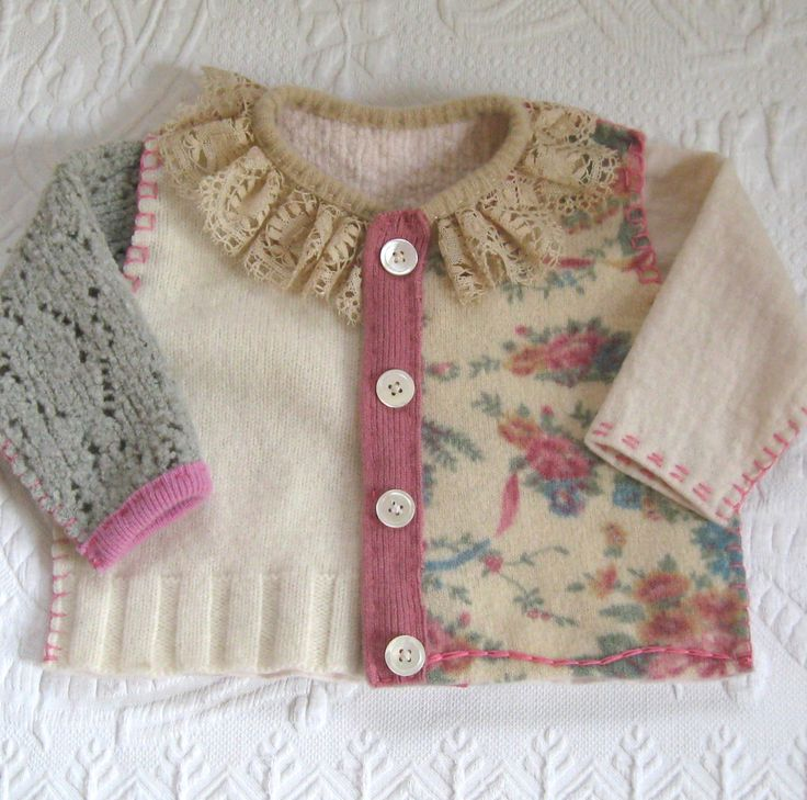 Baby Girl Sweater made from Recycled Sweaters CHARLOTTE 474 / Lace Collar Baby Cardigan by heartfeltbaby on Etsy