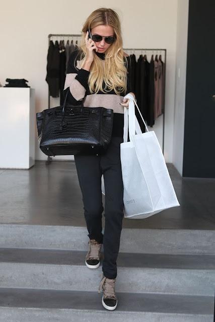 Petra Ecclestone with her black matte Croco Birkin 35 cm _