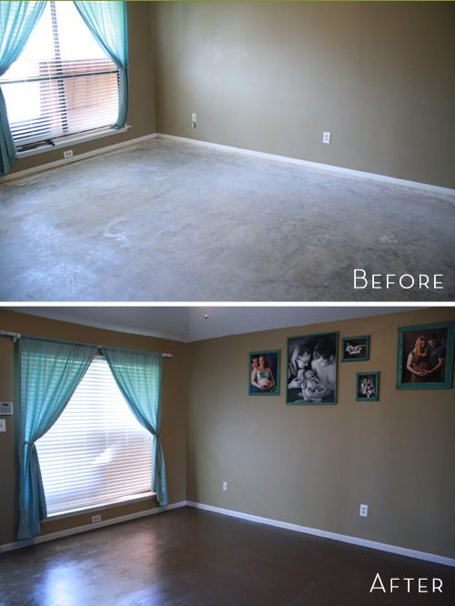 I want to rip out all our carpets & do this everywhere. Stain the concrete. Nice & easy to clean, looks great and costs a fraction of what carpet or tile does.