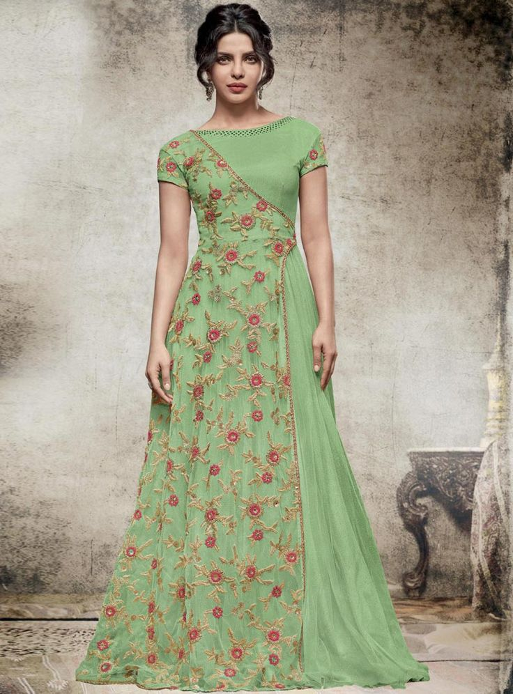 Priyanka Chopra Light Green Net Floor Length Anarkali Suit 88234