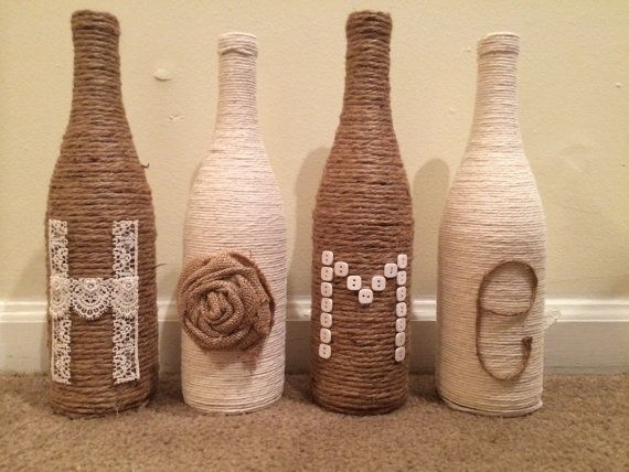 Home Twine Bottle Decor by FindALittleDream on Etsy