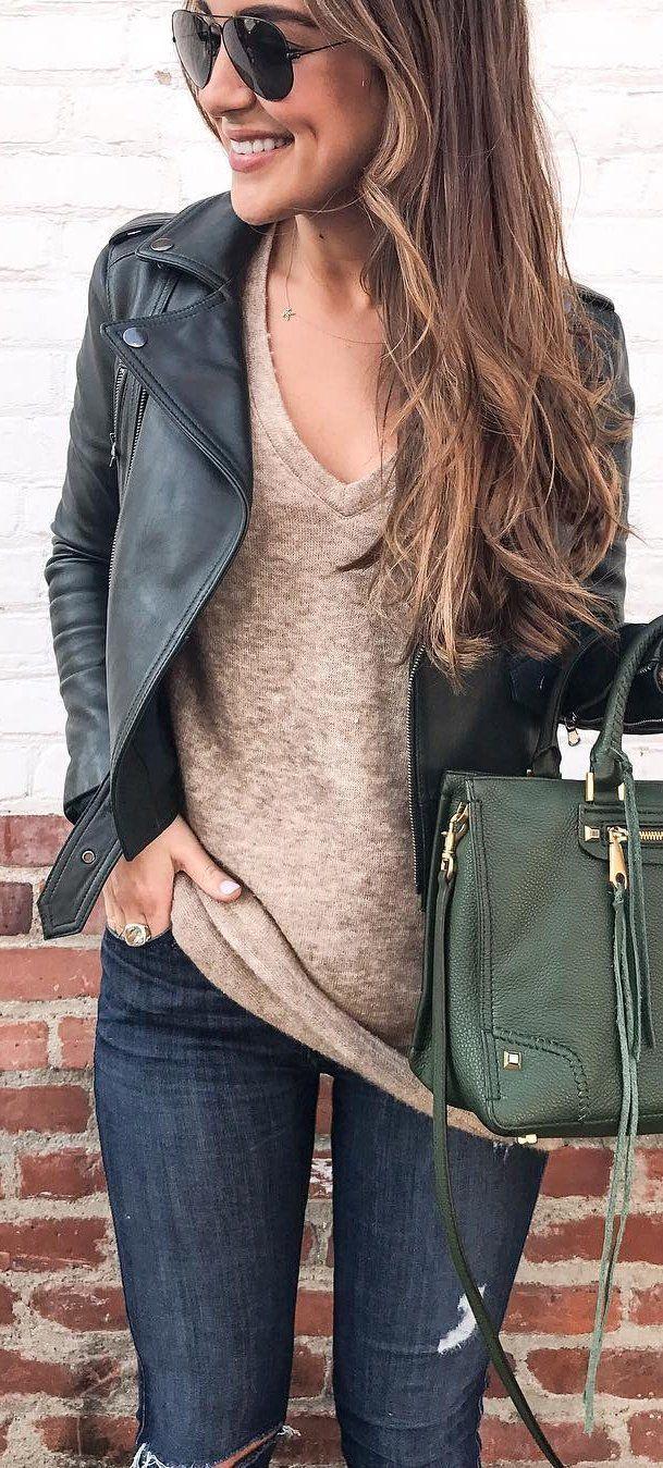 #winter #fashion /  Black Leather Jacket + Camel V-neck Knit + Navy Skinny Jeans + Green Leather Tote Bag